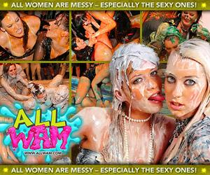 all wet and messy