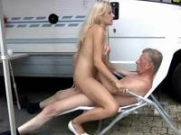 hot blonde sucks an old cock