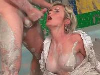 fucking a busty blonde in the mud